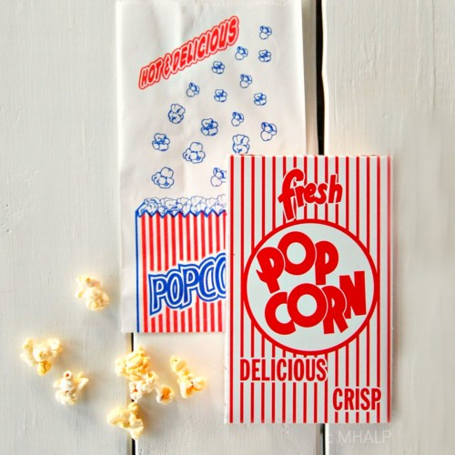 popcorn bag and box